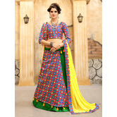 Craftsvilla Green And Blue Ikat Patola Half N Half Style Chaniya Choli With Tassel