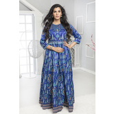 Craftsvilla Blue Color Silk Printed Designer Anarkali Gown