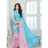 Chiffon Saree By Craftsvilla (sky_blue)