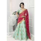 Craftsvilla Green Color Silk Embellished Semi-stitched Circular Lehenga Choli