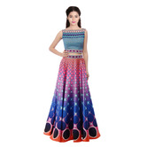 Craftsvilla Orange & Blue Digital Printed Lehenga Choli