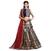 Craftsvilla Navy Blue & Golden Jacquard Lehenga Choli