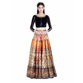 Craftsvilla Dark Orange And Blue Digital Printed Lehenga Choli