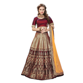 Craftsvilla Maroon & Golden Color Jacquard Lehenga Choli