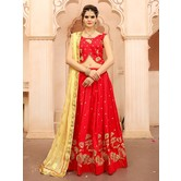 Craftsvilla Red Color Silk Embroidered Semi-stitched Designer Lehenga