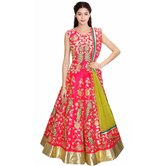 Craftsvilla Pink And Green Peacock Embroidered Lehenga Set