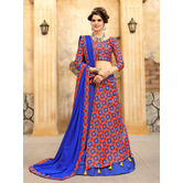 Craftsvilla Blue And Red Ikat Patola Half N Half Style Chaniya Choli With Tassel