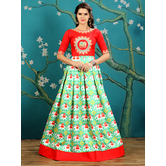 Craftsvilla Green Color Silk Embroidered Designer Gown