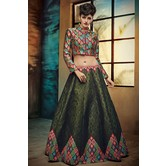 Craftsvilla Dark Green Digital Printed Lehenga Choli