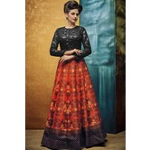 Craftsvilla Grey & Orange Digital Printed Lehenga Choli