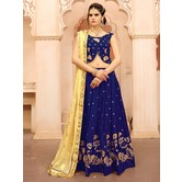 Craftsvilla Navy Color Silk Embroidered Semi-stitched Designer Lehenga