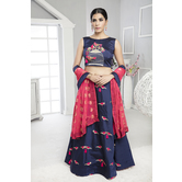 Craftsvilla Navy Color Silk Embellished Semi-stitched Circular Lehenga Choli