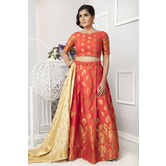 Craftsvilla Orange Color Banarasi Silk Jacquard Semi-stitched Circular Lehenga Choli