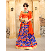 Craftsvilla Orange And Blue Ikat Patola Style Chaniya Choli With Dupatta