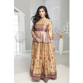 Craftsvilla Gold Color Silk Printed Designer Anarkali Gown