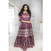 Craftsvilla Purple Color Silk Printed Designer Anarkali Gown