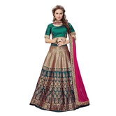 Craftsvilla Rama Green & Golden Color Jacquard Lehenga Choli