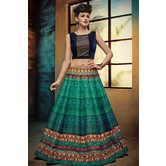 Craftsvilla Blue & Green Digital Printed Lehenga Choli