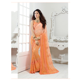 Craftsvilla Orange Chiffon Saree.