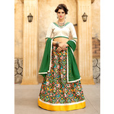 Craftsvilla White And Green Ikat Patola Style Chaniya Choli With Dupatta