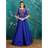 Craftsvilla Blue Color Taffeta, Silk Embroidered Designer Gown