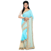 Craftsvilla Designer Embroidered Georgette Turquoise Saree With Matching Blouse