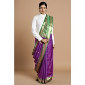 Craftsvilla Purple Color Bangalore Silk Saree With Traditional Zari Border Work And Unstitched Blouse Material