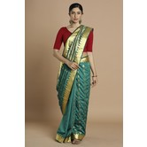 Craftsvilla Teal Blue Color Silk Blend Buti Work Designer Saree