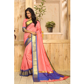 Craftsvilla Peach Color Bangalore Silk Zari Border Traditional Saree