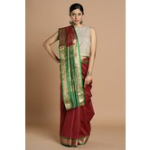 Craftsvilla Maroon Color Silk Blend Buti Work Designer Saree