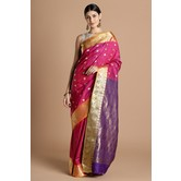 Craftsvilla Magenta Color Bangalore Silk Saree With Traditional Zari Border Work And Unstitched Blouse Material