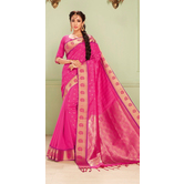Craftsvilla Pink Color Art Silk Zari Border Traditional Saree