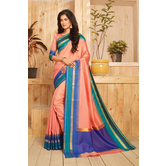 Craftsvilla Peach Color Zari Border Temple Gadwal Bangalore Silk Woven Traditional Saree