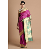 Craftsvilla Purple Color Silk Blend Saree With Butta Work And Contrast Traditional Pallu And Unstitched Blouse Material