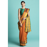 Craftsvilla Orange Color Cotton Saree With  Traditional Pallu And Unstitched Blouse Material