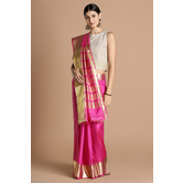Craftsvilla Pink Color Silk Blend Zari Border Designer Saree