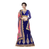 Craftsvilla Royal Blue And Velvet Embroidered Lehenga Choli