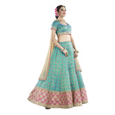 Craftsvilla Blue And Jacquard Silk Embroidered Lehenga Choli