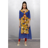 Anuswara Blue And Mustard Color Cotton Printed Floor Length A Line Style Kurti