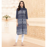 Anuswara Jaipuri Printed Blue Cotton Kurti