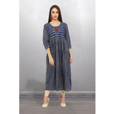 Anuswara Blue Color Cotton Printed Ankle Length A Line Style Kurti