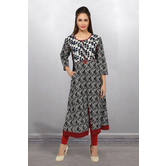 Anuswara Grey Color Cotton Printed Calf Length A Line Style Kurti