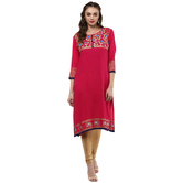 Anuswara Pink Color Rayon Printed 3/4 Th Sleeve Round Neck Straight Kurti