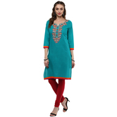 Anuswara Turquoise Color Cotton Embroidered Knee Length Straight Kurti