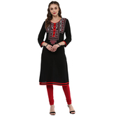 Anuswara Black Color Rayon Printed 3/4 Th Sleeve Round Neck Straight Kurti