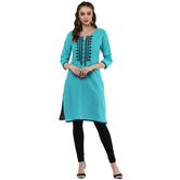 Anuswara Teal Green Color Cotton Embroidered Knee Length Straight Kurti