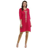 Anuswara Pink Color Cotton Embroidered Knee Length Straight Kurti