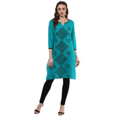 Anuswara Turquoise Color Cotton Printed 3/4 Th Sleeve Round Neck Straight Kurti