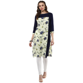 Anuswara Navy Color Cotton Printed 3/4 Th Sleeve V Neck Straight Kurti