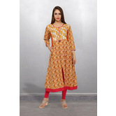 Anuswara Mustard Color Cotton Printed Calf Length A Line Style Kurti